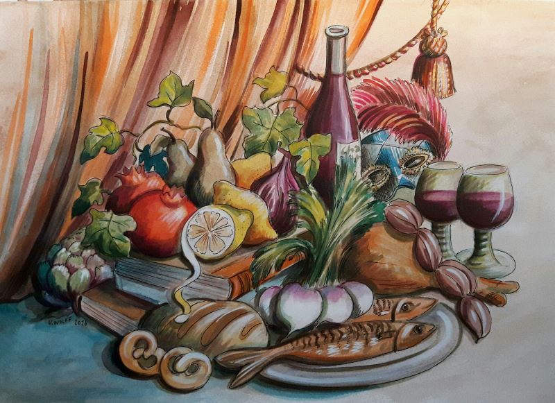 Painting by Ulrika Wolff. Food in the 17th century.